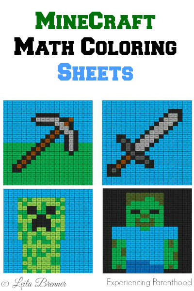 Math Minecraft Coloring Sheets